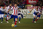 Atletico de Madrid´s Mario Mandzukic shoots a penalty  during 2014-15 La Liga match between Atletico de Madrid and Almeria at Vicente Calderon stadium in Madrid, Spain. February 21, 2015. (ALTERPHOTOS/Luis Fernandez)