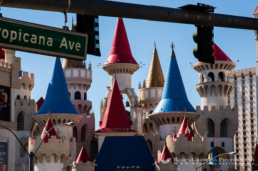 United States, Nevada, Las Vegas Strip. The Excalibur Hotel and Casino.