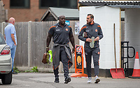 Adebayo Akinfenwa & Paul Hayes of Wycombe Wanderers arrive ahead of the Pre Season Friendly match between Maidenhead United and Wycombe Wanderers at York Road, Maidenhead, England on 28 July 2017. Photo by Kevin Prescod.