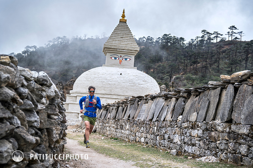 Trail running past a stupa in Khumjung, in Nepal's Khumbu Region.