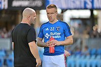 San Jose, CA - Saturday June 17, 2017: John Spencer, Tommy Thompson prior to a Major League Soccer (MLS) match between the San Jose Earthquakes and the Sporting Kansas City at Avaya Stadium.