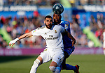 Real Madrid CF's Karim Benzema Getafe CF's Allan-Romeo Nyom competes for the ball during the Spanish La Liga match round 19 between Getafe CF and Real Madrid at Santiago Bernabeu Stadium in Madrid, Spain during La Liga match. Jan 04, 2020. (ALTERPHOTOS/Manu R.B.)