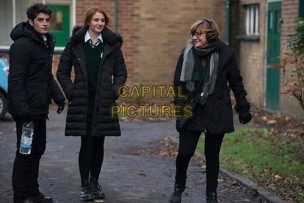 Gregg Sulkin, Sophie Turner, Isabel Coixet (Director)<br /> on the set of Another Me (2013) <br /> *Filmstill - Editorial Use Only*<br /> CAP/FB<br /> Image supplied by Capital Pictures