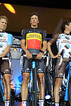 Belgian National Champion Oliver Naesen (BEL) AG2R La Mondiale team on stage at the Team Presentation in Burgplatz Dusseldorf before the 104th edition of the Tour de France 2017, Dusseldorf, Germany. 29th June 2017.<br /> Picture: Eoin Clarke | Cyclefile<br /> <br /> <br /> All photos usage must carry mandatory copyright credit (&copy; Cyclefile | Eoin Clarke)