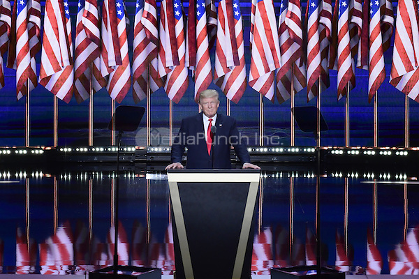 Donald J. Trump arrives to deliver his acceptance speech as the GOP candidate for President of the United States at the 2016 Republican National Convention held at the Quicken Loans Arena in Cleveland, Ohio on Thursday, July 21, 2016.<br /> Credit: Ron Sachs / CNP/MediaPunch<br /> (RESTRICTION: NO New York or New Jersey Newspapers or newspapers within a 75 mile radius of New York City)