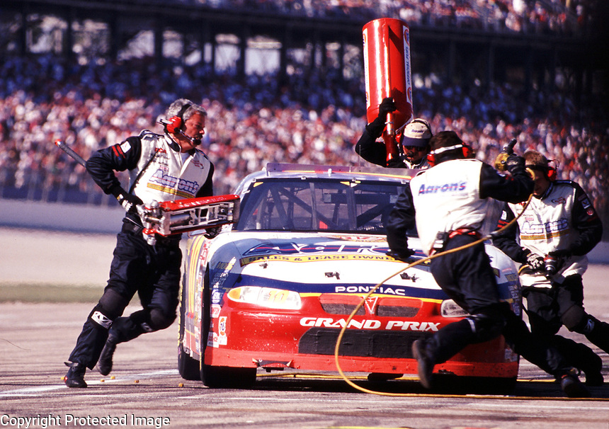 Johnny Benson pits during the Winston 500 at Talladega, AL in October 2000. (Photo b yBrian Cleary