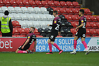 Peterborough United's Dan Butler celebrates scoring his side's first goal <br /> <br /> Photographer Kevin Barnes/CameraSport<br /> <br /> The EFL Sky Bet League One - Fleetwood Town v Peterborough United - Saturday 15th February 2020 - Highbury Stadium - Fleetwood<br /> <br /> World Copyright © 2020 CameraSport. All rights reserved. 43 Linden Ave. Countesthorpe. Leicester. England. LE8 5PG - Tel: +44 (0) 116 277 4147 - admin@camerasport.com - www.camerasport.com