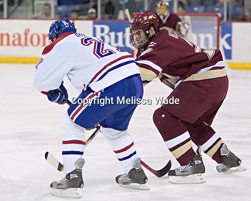 Mike Potacco, Anthony Aiello - The Boston College Eagles defeated the University of Massachusetts-Lowell River Hawks 4-3 in overtime on Saturday, January 28, 2006, at the Paul E. Tsongas Arena in Lowell, Massachusetts.