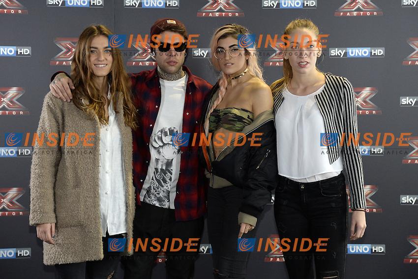 Db Milano 26/10/2016 - photocall trasmissione Tv 'X-Factor' / foto Daniele Buffa/Image/Insidefoto <br /> nella foto: Fedez-Gaia Gozzi-Caterina Cropelli-Rossella Discolo Roshelle