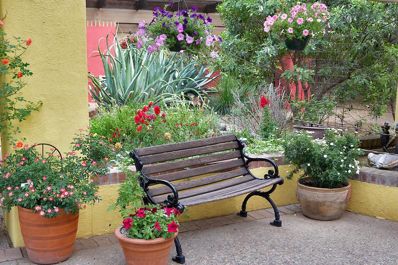 Benchon patio in Tucson Botanical Gardens. Tucson. Arizona