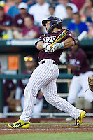Mississippi State catcher Nick Ammirati (17) follows through on his swing against the Indiana Hoosiers during Game 6 of the 2013 Men's College World Series on June 17, 2013 at TD Ameritrade Park in Omaha, Nebraska. The Bulldogs defeated Hoosiers 5-4. (Andrew Woolley/Four Seam Images)