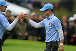 Zach Johnson and Hunter Mahan celebrate on the 16th hole in the Session 3 Foursomes and Fourball Matches during Day 3 of the The 2010 Ryder Cup at the Celtic Manor, Newport, Wales, 3rd October 2010..(Picture Eoin Clarke/www.golffile.ie)
