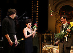 Opening Night Curtain Call as Tracie Bennett debuts on Broadway as Judy Garland in 'End of the Rainbow' with Tom Pelphrey & Michael Cumpsty at the Belasco Theatre in New York City on 4/2/2012