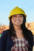 Stock photo of ethnic construction woman