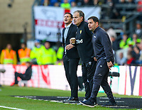 Derby County manager Frank Lampard  and Leeds United manager Marcelo Bielsa watch on during the second half<br /> <br /> Photographer Alex Dodd/CameraSport<br /> <br /> The EFL Sky Bet Championship Play-off  First Leg - Derby County v Leeds United - Thursday 9th May 2019 - Pride Park - Derby<br /> <br /> World Copyright © 2019 CameraSport. All rights reserved. 43 Linden Ave. Countesthorpe. Leicester. England. LE8 5PG - Tel: +44 (0) 116 277 4147 - admin@camerasport.com - www.camerasport.com