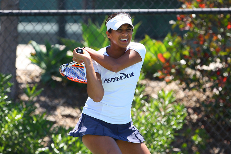 April 21, 2011; San Diego, CA, USA; Pepperdine Waves singles Anamika Bhargava during the first round of the WCC Tennis Championships at the Barnes Tennis Center.