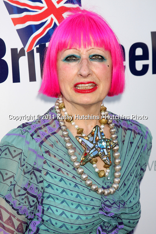 LOS ANGELES - APR 26:  Zandra Rhodes arriving at the 5th Annual BritWeek Launch Party at British Consul General's residence on April 26, 2011 in Los Angeles, CA..
