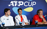 2nd January 2020; RAC Arena , Perth, Western Australia, Australia; ATP Cup Team Press conferences, Spain; Carreno Busta, Rafael Nadal and Francisco Roig of Spain at their press conferences before the start of the tournament - Editorial Use