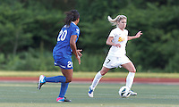 Western New York Flash midfielder McCall Zerboni (7) at midfield.  In a National Women's Soccer League Elite (NWSL) match, the Boston Breakers (blue) tied Western New York Flash (white), 2-2, at Dilboy Stadium on June 5, 2013.