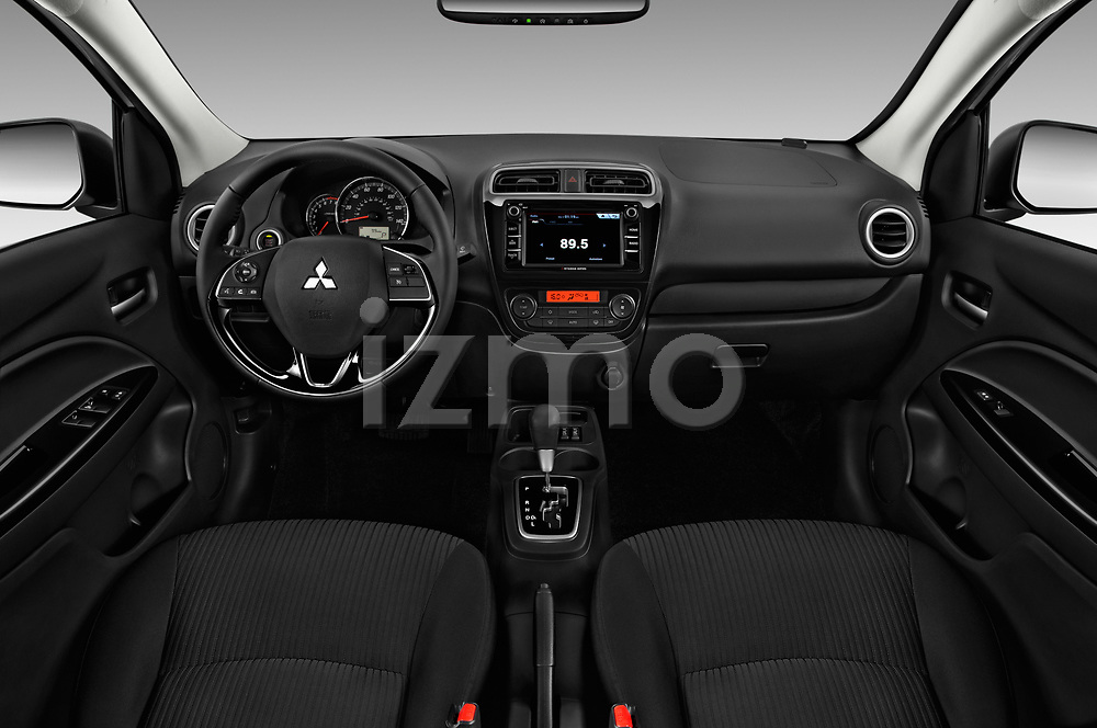 Stock photo of straight dashboard view of 2018 Mitsubishi Mirage-G4 SE-CVT 4 Door Sedan Dashboard
