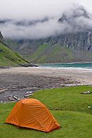 Campsite on grassy bluff above Kvalvike beach, Lofoten Islands, Norway
