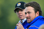Rory McIlroy and Graeme McDowell watch on the 18th green in the Session 3 Foursomes and Fourball Matches during Day 3 of the The 2010 Ryder Cup at the Celtic Manor, Newport, Wales, 3rd October 2010..(Picture Eoin Clarke/www.golffile.ie)