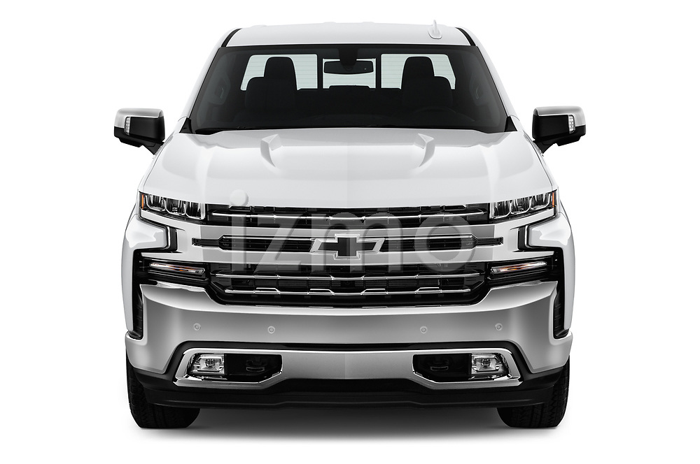 Car photography straight front view of a 2019 Chevrolet Silverado 1500 LTZ 4 Door Pick Up