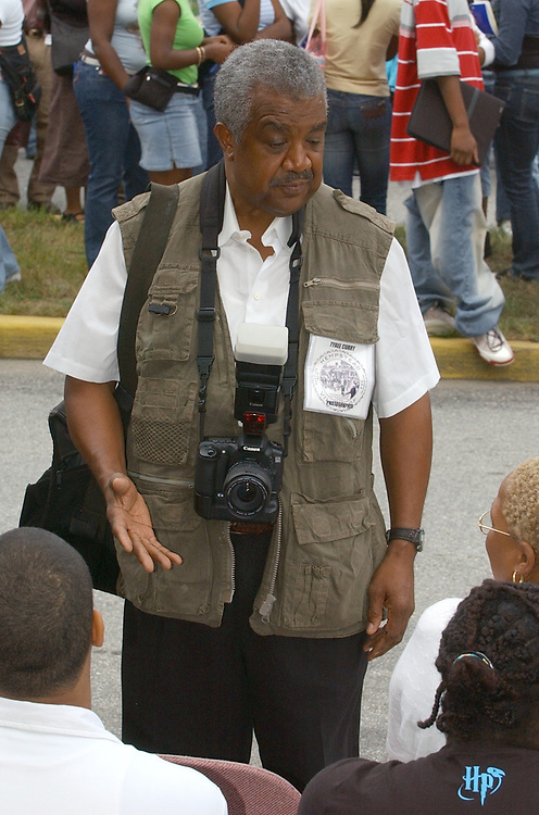 """Town of Hempstead Photographer, Tyree Curry, seen during ceremonies at Hempstead High School in Hempstead on Friday September 9, 2005, entitled """"Facing Our Future with Strength and Confidence: Remembering Sept. 11, 2001. (Photo / Jim Peppler)."""