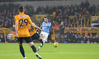 27th December 2019; Molineux Stadium, Wolverhampton, West Midlands, England; English Premier League, Wolverhampton Wanderers versus Manchester City; Bernardo Silva of Manchester City takes a shot at goal in the last minutes of the match - Strictly Editorial Use Only. No use with unauthorized audio, video, data, fixture lists, club/league logos or 'live' services. Online in-match use limited to 120 images, no video emulation. No use in betting, games or single club/league/player publications
