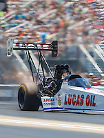 Jun 18, 2016; Bristol, TN, USA; NHRA top fuel driver Richie Crampton during qualifying for the Thunder Valley Nationals at Bristol Dragway. Mandatory Credit: Mark J. Rebilas-USA TODAY Sports