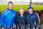 Patrick O'Connor, Anne O'Connor and Joe O'Shea, St Mary's fans, Cahersiveen, pictured at St Mary's vs Ratoath, Meath, football intermediate club championship semi-final, at the Gaelic Grounds, Limerick on Sunday last.