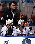 Steve Clark (NU - Trainer), Mike McLaughlin (NU - 18), Greg Costa (NU - 22) - The Northeastern University Huskies defeated the St. Thomas Tommies 7-5 in their exhibition match on Saturday, October 3, 2009, at Matthews Arena in Boston, Massachusetts.
