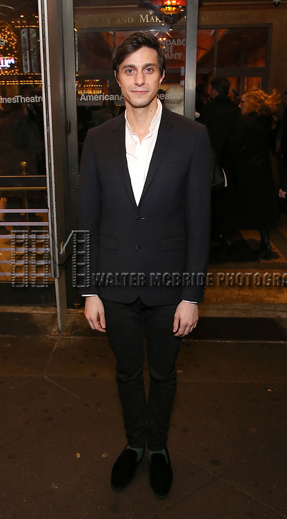 "Gideon Glick attends the Broadway Opening Night Performance of ""John Lithgow: Stories by Heart"" at the American Airlines Theatre on January 11, 2018 in New York City."