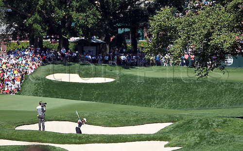 10.08.2013. Rochester, NY, USA. Tiger Woods  hits out of the bunker on the 18th hole during the third round of the 95th PGA Championship at Oak Hill Country Club in Rochester, New York.