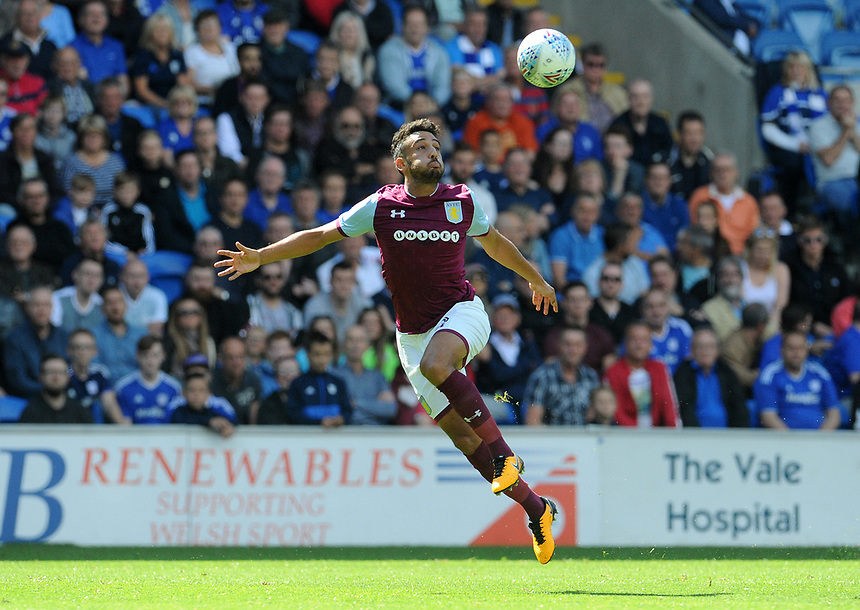 Aston Villa's Neil Taylor <br /> <br /> Photographer Ian Cook/CameraSport<br /> <br /> The EFL Sky Bet Championship - Cardiff City v Aston Villa - Saturday August 12th 2017 - Cardiff City Stadium - Cardiff<br /> <br /> World Copyright &copy; 2017 CameraSport. All rights reserved. 43 Linden Ave. Countesthorpe. Leicester. England. LE8 5PG - Tel: +44 (0) 116 277 4147 - admin@camerasport.com - www.camerasport.com