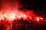 23.10.2014 Milan, Italy. Inter Milan vs ASSE Saint Etienne.<br /> ASSE supporters fans celebrate with flares during the UEFA Europa League game played at the Stadio Guiseppe Meazza.