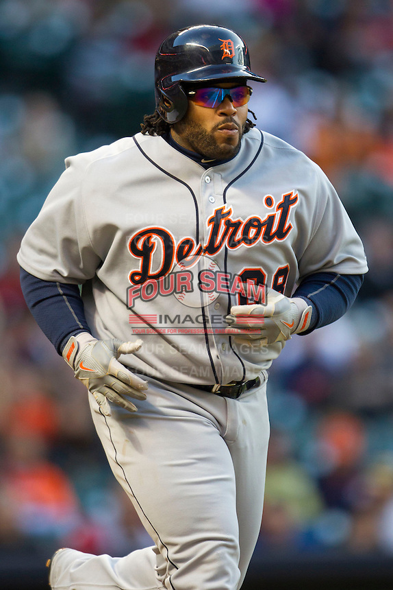 Detroit Tigers first baseman Prince Fielder (28) jogs to first base after walking in the MLB baseball game against the Houston Astros on May 3, 2013 at Minute Maid Park in Houston, Texas. Detroit defeated Houston 4-3. (Andrew Woolley/Four Seam Images).