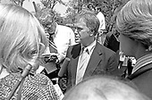 """United States Senator Bob Packwood (Republican of Oregon) speaks to reporters at the White House in Washington, DC after meeting with US President Jimmy Carter on April 24, 1980.<br /> Credit: Benjamin E. """"Gene"""" Forte / CNP"""
