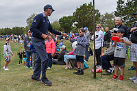 Matt Kuchar (USA) stops to sign a ball for a young fan following Round 2 of the Valero Texas Open, AT&amp;T Oaks Course, TPC San Antonio, San Antonio, Texas, USA. 4/20/2018.<br /> Picture: Golffile | Ken Murray<br /> <br /> <br /> All photo usage must carry mandatory copyright credit (&copy; Golffile | Ken Murray)