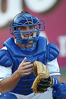 Jeff Mathis of the Rancho Cucamonga Quakes catches in the bullpen before a game at The Epicenter on July 3, 2003 in Rancho Cucamonga, California. (Larry Goren/Four Seam Images)