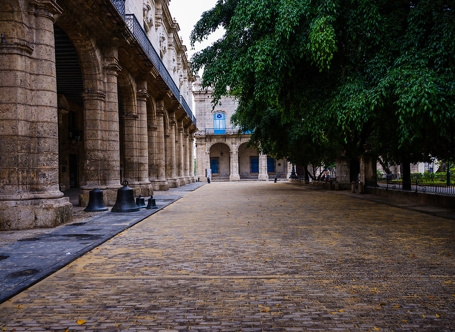 HAVANA, CUBA - CIRCA MAY 2017:  Plaza de Armas in Havana. The city's oldest plaza is surrounded by restaurants & host to numerous secondhand book stands and its a popular tourist destination.