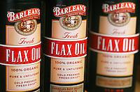 Bottles of flax oil produced by Barlean's Organic Oils line the shelves of the company's Ferndale facilities on Tuesday, January 22, 2008..
