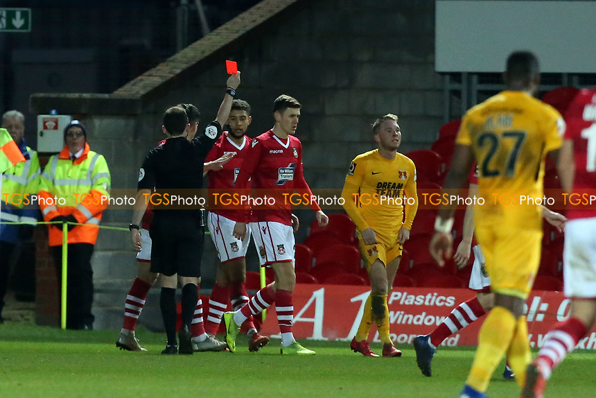 ref Peter Gibbons sends off Myles Judd for two yellow cards during Wrexham vs Leyton Orient, Buildbase FA Trophy Football at the Racecourse Ground on 12th January 2019