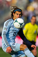 Graham Zusi (8) of Sporting Kansas City. Sporting Kansas City defeated the Philadelphia Union 3-1 during a Major League Soccer (MLS) match at PPL Park in Chester, PA, on March 2, 2013.