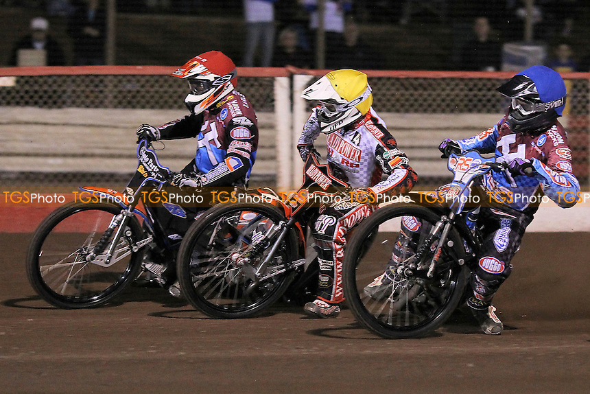 Heat 3: Peter Karlsson (red), Linus Sundstrom (yellow) and Stuart Robson - Lakeside Hammers vs Peterborough Panthers - Sky Sports Elite League Speedway at Arena Essex Raceway, Purfleet - 14/09/12 - MANDATORY CREDIT: Gavin Ellis/TGSPHOTO - Self billing applies where appropriate - 0845 094 6026 - contact@tgsphoto.co.uk - NO UNPAID USE.