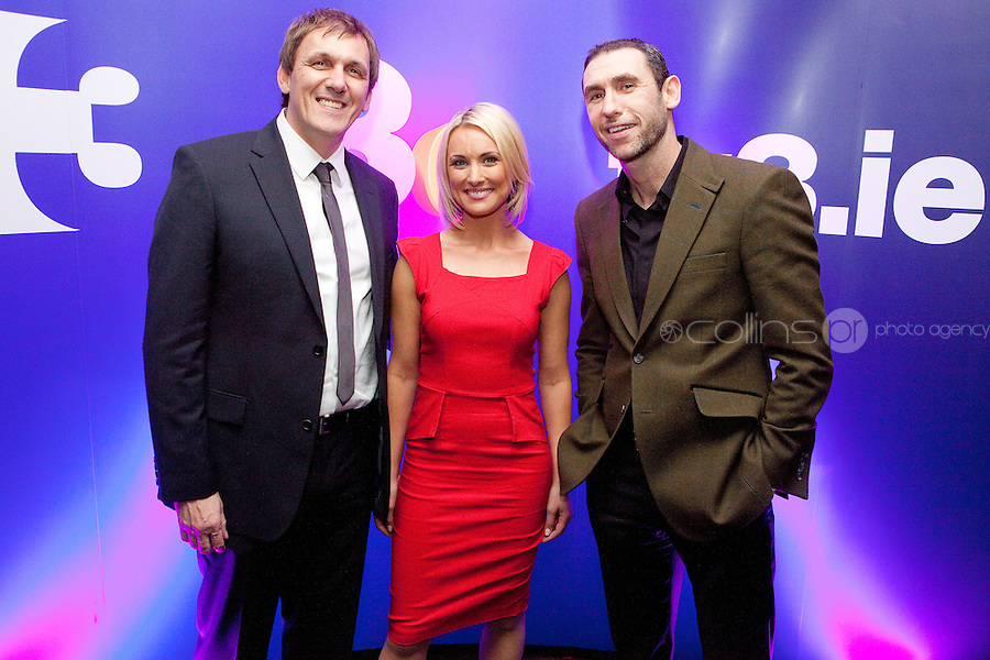 3/3/2011. TV3 SPRING SCHEDULE LAUNCH. Pictured at the Aviva Stadium for the launch of the TV3 spring schedule are Tony Cascarino, Kirsteen O Sullivan and Martin Keenan .Picture James Horan/Collins Photos