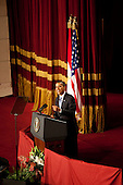 Cairo, Egypt - June 4, 2009 -- United States President Barack Obama speaks at Cairo University in Cairo, Thursday, June 4, 2009. In his speech, President Obama called for a 'new beginning between the United States and Muslims', declaring that 'this cycle of suspicion and discord must end'. .Mandatory Credit: Pete Souza - White House via CNP