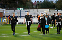 Milton Keynes Dons FC arrive via the back door prior to the Sky Bet League 1 match between AFC Wimbledon and MK Dons at the Cherry Red Records Stadium, Kingston, England on 22 September 2017. Photo by Carlton Myrie / PRiME Media Images.