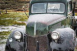 1939 Ford V8 flatbed truck with a fresh coating of graupel (soft hail) in the ghost town of Bodie, California, State Historic Park.