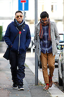 EXCLUSIVE PICTURE: MATRIXPICTURES.CO.UK.PLEASE CREDIT ALL USES..WORLD RIGHTS..Eastenders actors Ricky Norwood also known as Fatboy and Himesh Patel also known as Tamwar Masood are spotted outside the Eastenders film studios in Elstree Borehamwood, Hertforshire...NOVEMBER 8th 2012..REF: WBD 125145